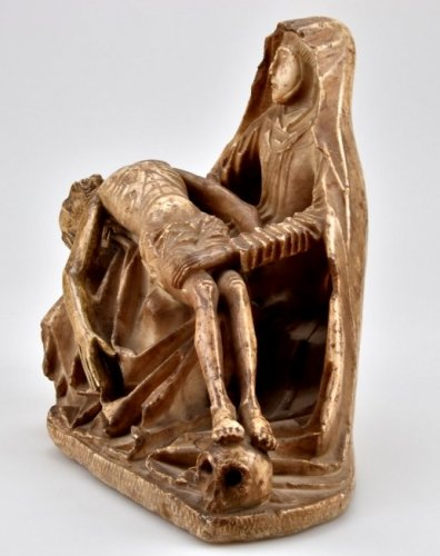 Sculpture  - Alabaster carved gothic Pieta Circa 1450