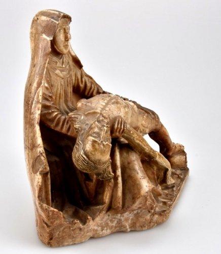 Alabaster carved gothic Pieta Circa 1450 -