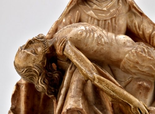 - Alabaster carved gothic Pieta Circa 1450