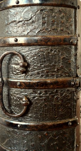 Gothic leather casket.France 15th century. -