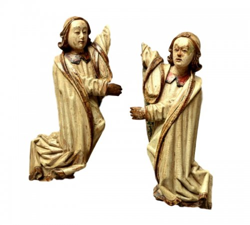 A pair of carved limewood Angels.16th century