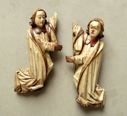 A pair of carved limewood Angels.16th century -