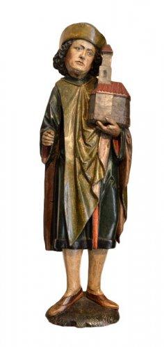 Limewood figure of a Saint.Germany.Late 15th century.