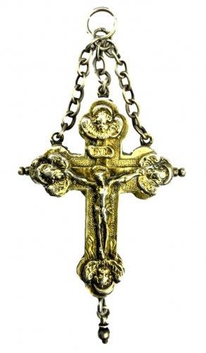 A silver gilt reliquary cross.17th century