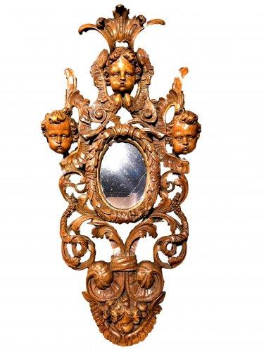 A large baroque walnut frame.17th century