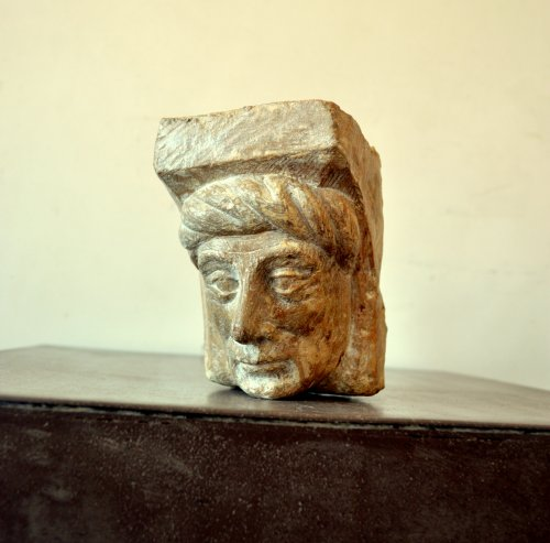 Architectural & Garden  - A gothic limestone fragment showing a man's head.Flemish c.1450