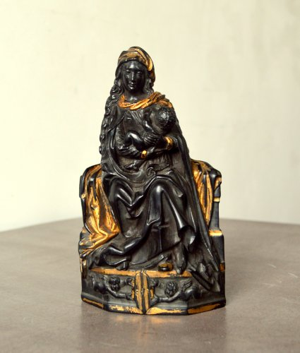 Ebony figure of Virgin and Child - Flemish 17th century - Sculpture Style