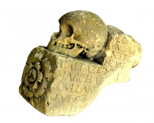 Architectural stone fragment of skull 17th century