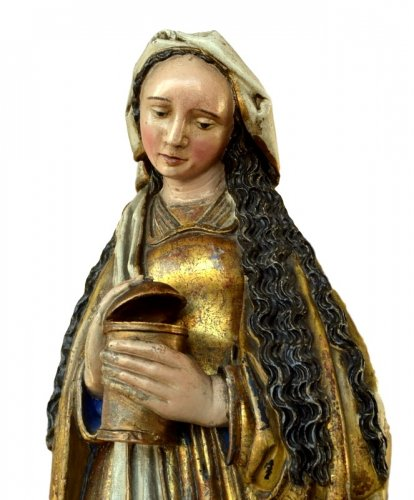 A polychromed  statue of St-Magdalene, Late 15th century - Sculpture Style Middle age