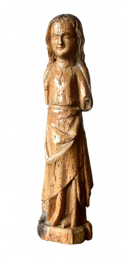 Limewood figure of a female Saint, Cologne Mid-14th century