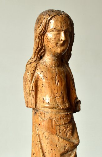 Limewood figure of a female Saint, Cologne Mid-14th century - Sculpture Style Middle age