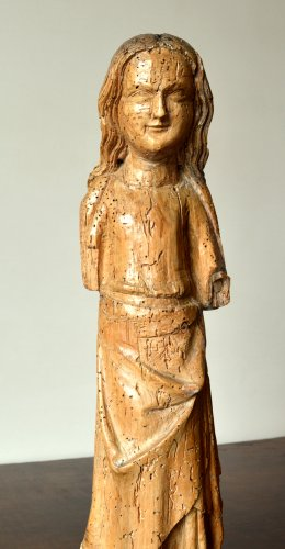 Sculpture  - Limewood figure of a female Saint, Cologne Mid-14th century