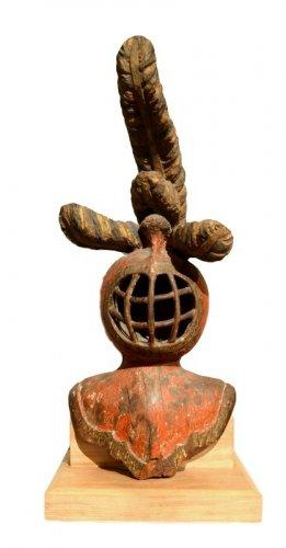 A carved limewood helmet, Mid-16th century
