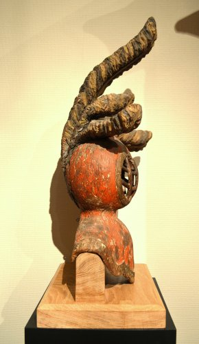 A carved limewood helmet, Mid-16th century -