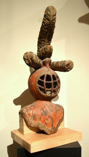 - A carved limewood helmet, Mid-16th century