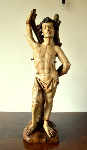 A walnut carved sculpture of St-Sebastian.16th century -