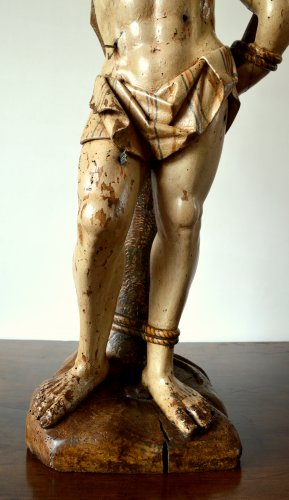 16th century - A walnut carved sculpture of St-Sebastian.16th century