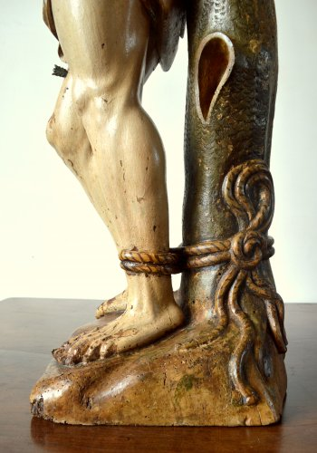 Antiquités - A walnut carved sculpture of St-Sebastian.16th century