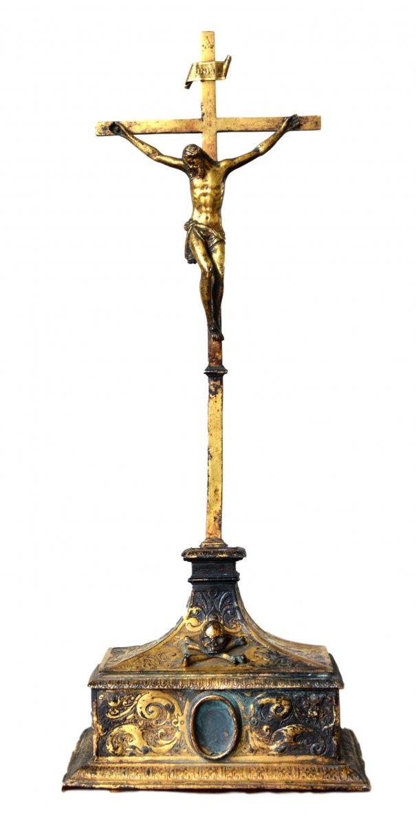 Gilded Copper Crucifixion Cross 16th Century Ref 63157