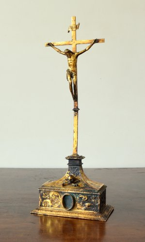 Religious Antiques  - Gilded copper crucifixion cross 16th century