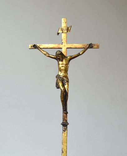 Gilded copper crucifixion cross 16th century -