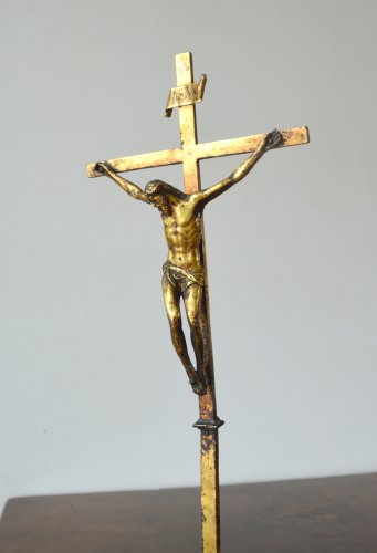 Gilded copper crucifixion cross 16th century - Renaissance