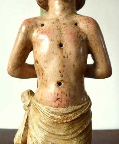 Limestone figure of St-Sebastian.16th century. -