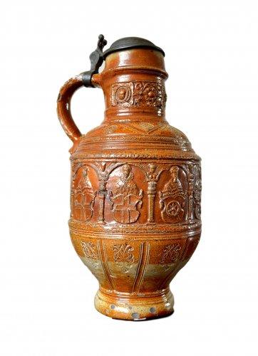 A pewter mounted stoneware jug.Raeren 1603
