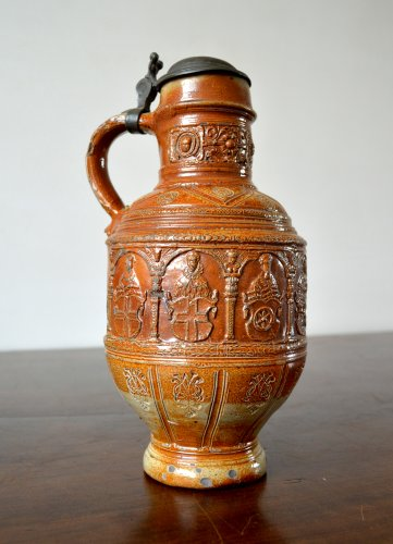 A pewter mounted stoneware jug.Raeren 1603 - Collectibles Style