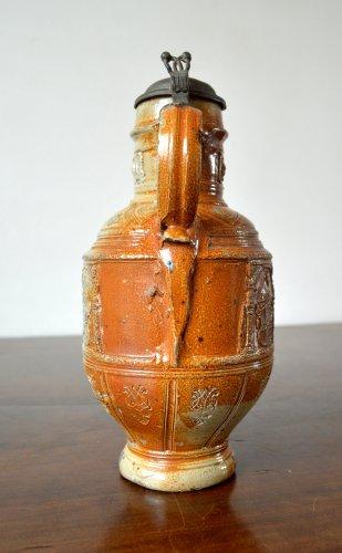 A pewter mounted stoneware jug.Raeren 1603 -