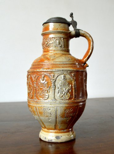 17th century - A pewter mounted stoneware jug.Raeren 1603