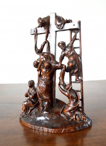 Sculpture  - The Descent from the Cross - Walnut group Late 17th century.