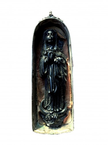 Jet figure of the Virgin.Spain Late 16th century