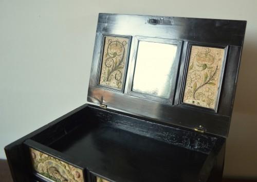 A ebony veneered and stump work table cabinet.17th century -