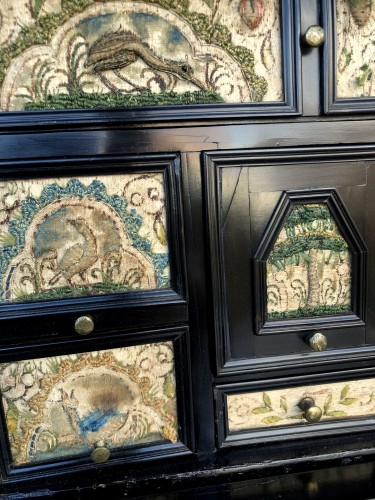 - A ebony veneered and stump work table cabinet.17th century