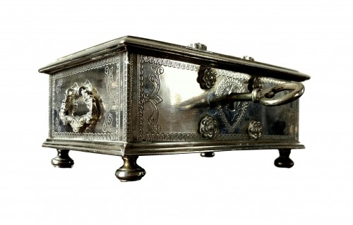A Dutch colonial engraved silver casket.18th century