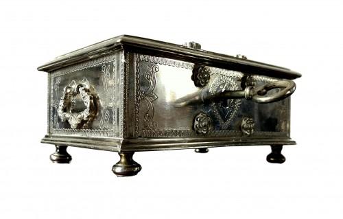 A Dutch colonial engraved silver casket.18th century