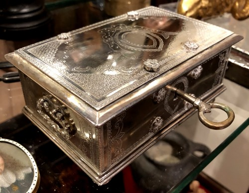 Antique Silver  - A Dutch colonial engraved silver casket.18th century