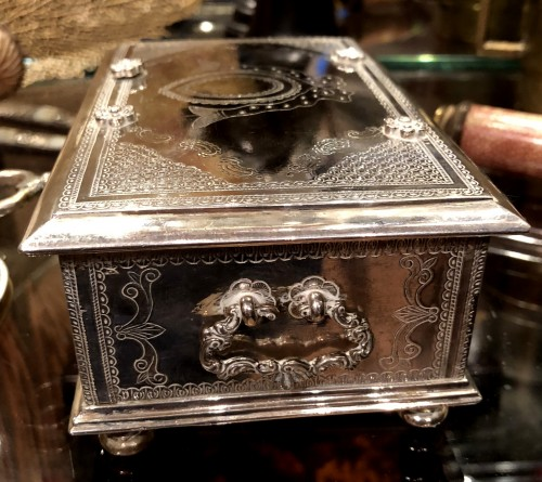 18th century - A Dutch colonial engraved silver casket.18th century