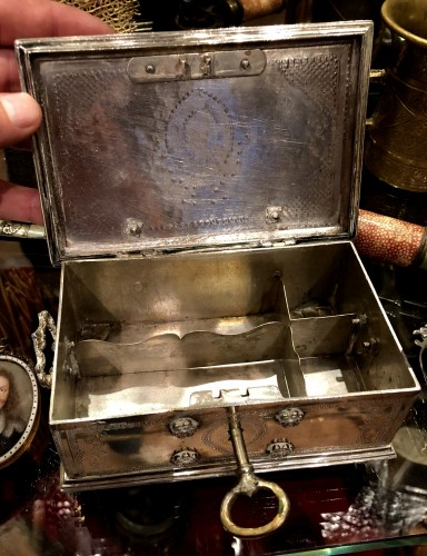 - A Dutch colonial engraved silver casket.18th century