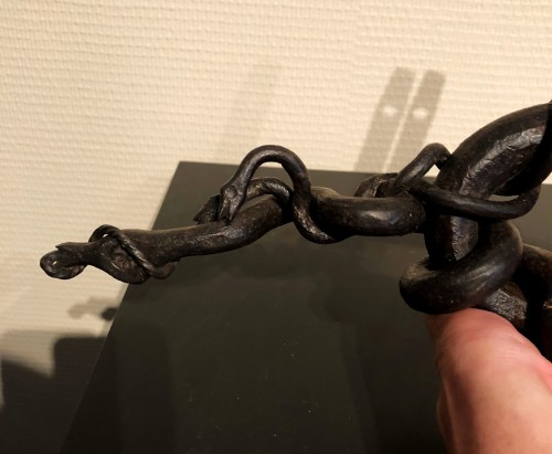 17th century - A French iron door handle.Late 17th century.