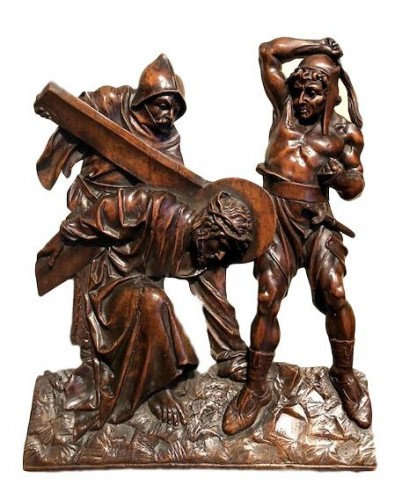 Relief in wood 'Road to the calvary'.  Mid-16th century