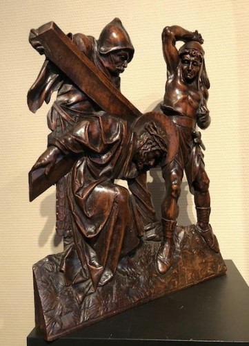 Antiquités - Relief in wood 'Road to the calvary'.  Mid-16th century