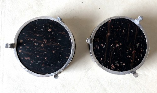 Antique Silver  - A pair of sillver and porphyry salts.Early 19th century