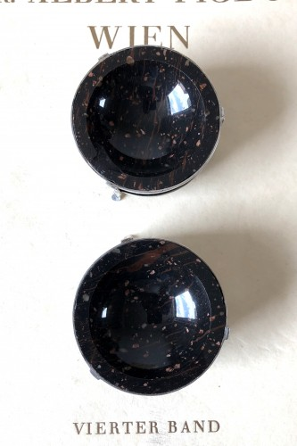 A pair of sillver and porphyry salts.Early 19th century -