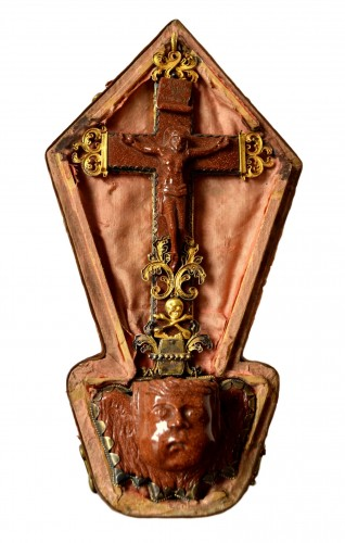 Silver gilt mounted goldstone holy water stoup, 17th century