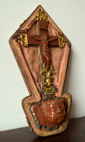 Silver gilt mounted goldstone holy water stoup, 17th century -