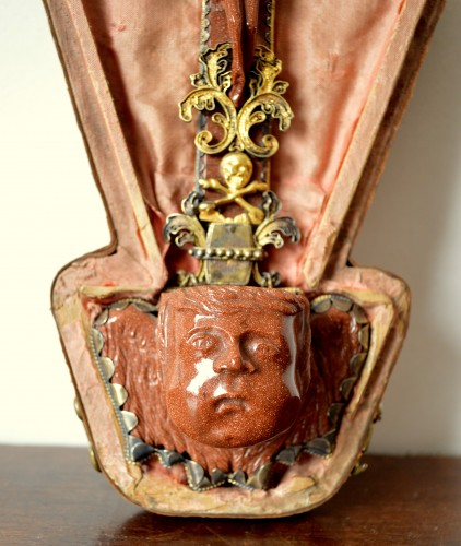17th century - Silver gilt mounted goldstone holy water stoup, 17th century