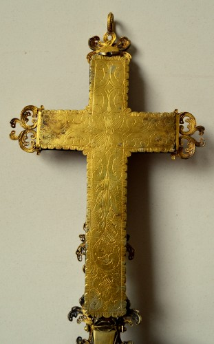 - Silver gilt mounted goldstone holy water stoup, 17th century