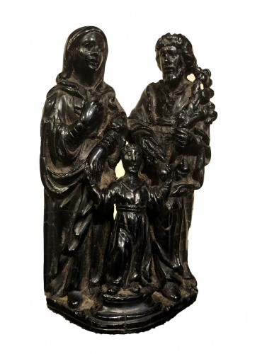 A jet sculpture of the holy family.17th century
